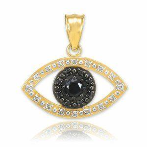 14K Real Gold Evil Eye Clear Black Diamond Pendant